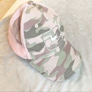 John Deere Pink Camo Liquid Logo Snapback Cap